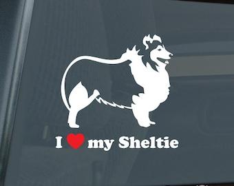 I Love my Sheltie Profile Die Cut Vinyl Sticker - 057