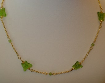 """Green Butterfly Beaded Necklace w/ Swarovski Crystals 18"""""""