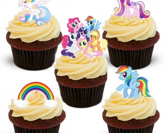 30 Stand Up Premium Edible Wafer Paper My Little Pony Cupcake Toppers