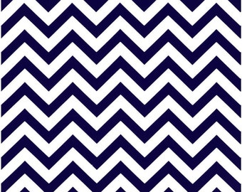 1/2 Yard Dark Blue and White Chevron Fabric - Premier Prints Navy Blue and White Zig Zag Chevron Fabric HALF YARD