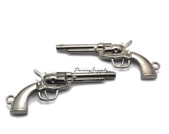 5 pieces - Pistol Gun Charms Pendants Findings Gunmetal Black  CGB-042-SRR.4