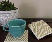 Set of 4 gold chevron tile coasters