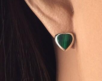 Malachite sterling silver heart earrings