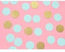 Circle paper banner, paper circle garland, circle paper Garland, glitter aqua, decoration party.