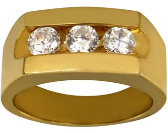 Heavy Mens CZ Ring W/ 3 1/2ct Cz In Heavy 14k Gold Plated Three Stone Mens Ring
