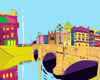 Limited edition (200), Giclée print, signed and numbered by the artist. O'Connell Bridge, Dublin.