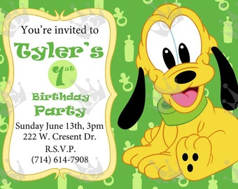 Pluto Invitation, 1st birthday invitation, Kid's Birthday Party Invite, DIY