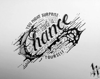 Take A Chance ink splatter drawing