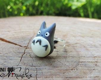 Ring adjustable grey totoro (fimo) geek miyazaki manga ghibli