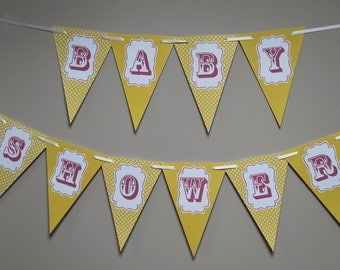 Baby Shower Bunting  Banner Decoration Chevron Flags Blue Pink Yellow
