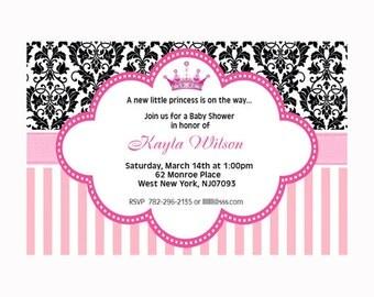 Printable File Pink Damask Princess Baby Shower Invitation