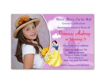 Printable File Snow White Princes Birthday Photo Invitations