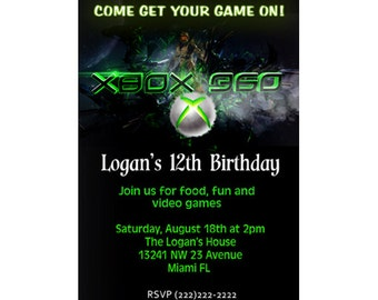 Printable File Xbox Video Game Birthday invitation card
