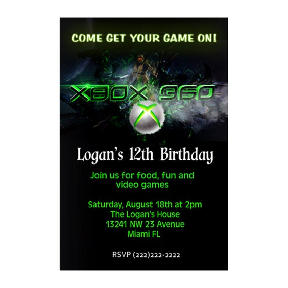 Xbox Party Invitations Free Printable File Video Game Birthday Invitation Card