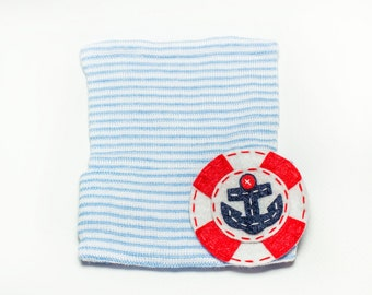 ANCHOR blue and white striped newborn baby boy hospital hat, baby boy, newborn boy, baby boy hat, newborn boy hat, boy hat
