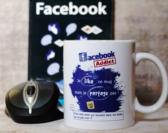 "Mug ""Facebook Addict"" for Facebook addict. Personalized Coffee Cup. Text and graphics by CHEEP creations. Made in France"