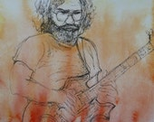 Print,Jerry Garcia,Jerry Garcia Art,Jerry Garcia Painting,Jerry Garcia Watercolor,Jerry Garcia pen and ink drawing,Grateful Dead Art