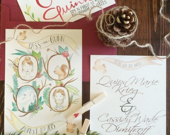 Hand-painted Rustic Portrait Invitation