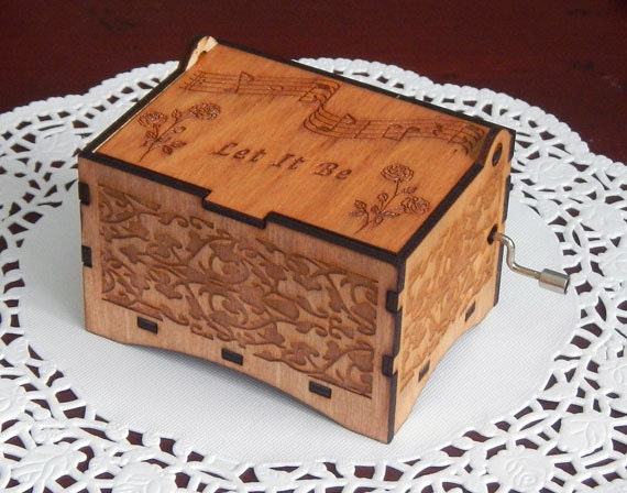 "Jewelry Music Box,  ""Let It Be"" by the Beatles, Laser Engraved Wooden Interlocking Hand Crank Storage Music Box"