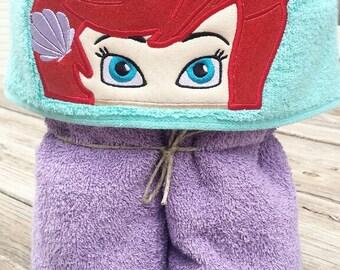 Ariel inspired Hooded Bath Towel, Little Mermaid Hooded Towel, Pool Towel, Ariel Hooded Towel, Embroidered