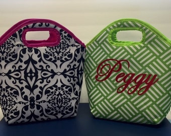 LUNCH TOTE, Insulated bag, lunch sack, snack bag, bag, lunch tote, personalized, initials, name