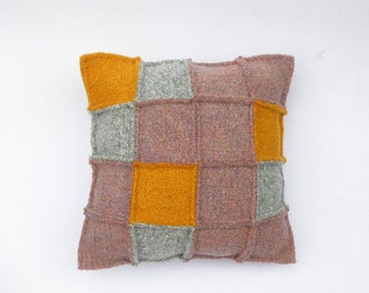 Felted Wool Pillow, Patchwork Squares, Hand Knit: Dusty Pink, Light Grey, Yellow