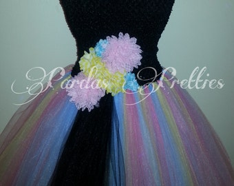 Pastel color tutu dress, yellow tulle, pink tulle, black tulle, baby blue tulle. Black crocheted tutu top
