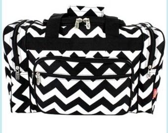 Black and White Chevron Duffle Weekend Bag