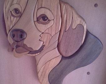 Australian Timber Intarsia Beagle