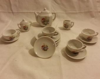 Vintage Miniature Japanese Floral Tea Set 17 pieces