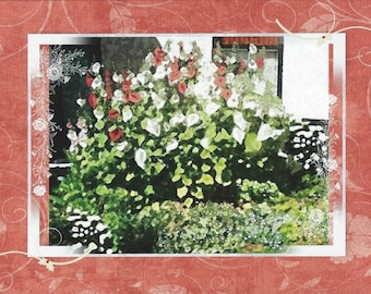 "Note card: Based on my original painting ""Hollyhocks"", Paper & Party Supplies, Stationary, Watercolor, Art and Collectibles, Gardens, Art"