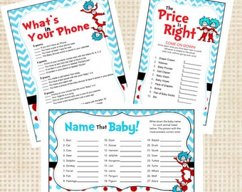 Dr Seuss Thing 1 Thing 2 Baby Shower Games
