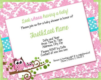 Owl Themed Baby Shower Invitation Pink and Teal Damask