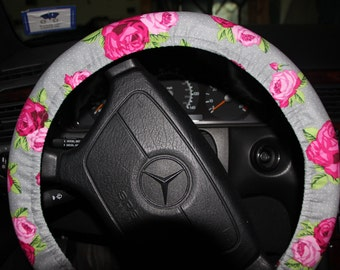 Steering Wheel Cover . Pink Flowers Wheel Cover. Gray and Pink Wheel Cover. Accessories.