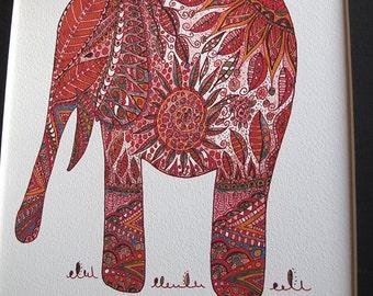 Hindu elephant print,bohemian art,bohemian decor,elephant art print,hippy art,ethnic art,zentangle inspired art,elephant print