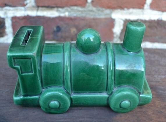 Vintage train shaped piggy bank by artworld59 on etsy - Train piggy banks ...