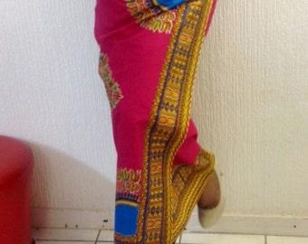 Fuchsia Angelina Dashiki Print Lapa, African Wax Print Maxi Wrap Skirt