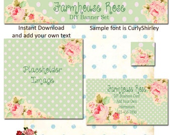 Old Garden Green 4 Piece DIY Shop Banner Avatar and Business Card Graphics Set Instant Download