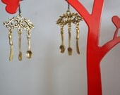 Persian avant garte fork knife spoon gold bronze dangle and drop beautiful unique chandelier hand made dinner ware gipsy earrings