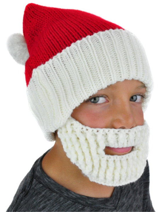Men Scarf Knitting Patterns : Santa Hat with Beard Knit Beanie by NeonEaters on Etsy