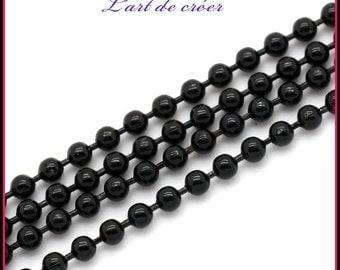 10 meters string balls Metal Black - 2 mm black beads