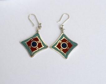 Silver Earrings, Handmade Artisan Metalwork Hammered Silver Earrings, Silver Jewelry