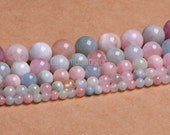 Morganite Beads, Natural A+ Morganite Beads, 6 8 10 12mm Pink Beryl Beads, Round Morganite Beads, Morganite Strands for Jewelry Making