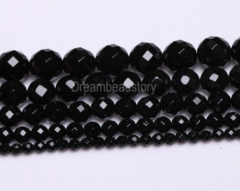 Faceted Black Agate Beads, 64 Facets Black Agate, 4 6 8 10 12 14 16mm Round Faceted Agate Gemstone Beads for Necklace Bracelet Making (Y13)