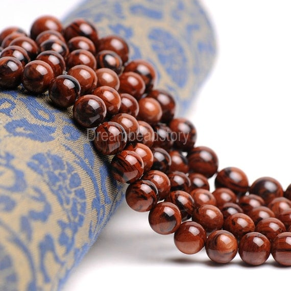 Red Obsidian Stone : Mahogany red obsidian beads natural smooth brown