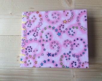Pocket Pink Stars Book | Coptic Stitch | Sketchbook | Journal | Notebook