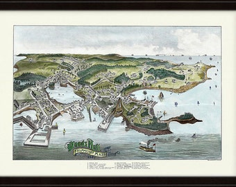 Bird's Eye View of Woods Hole, Falmouth 1887 Colored