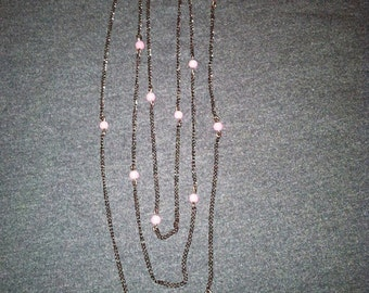 Chocolate Chain with Pink Pearl Beads
