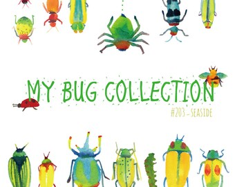 my bug collection, watercolor clip art, bugs,insect,wall art,children