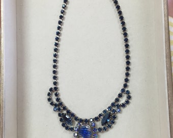 1940's cobalt blue necklace